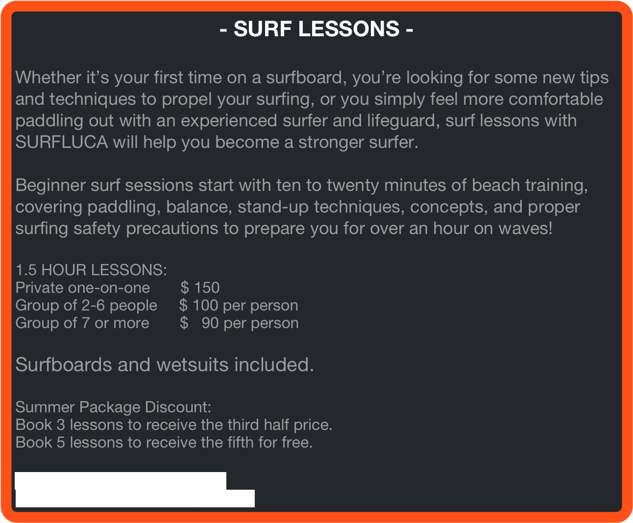- SURF LESSONS -