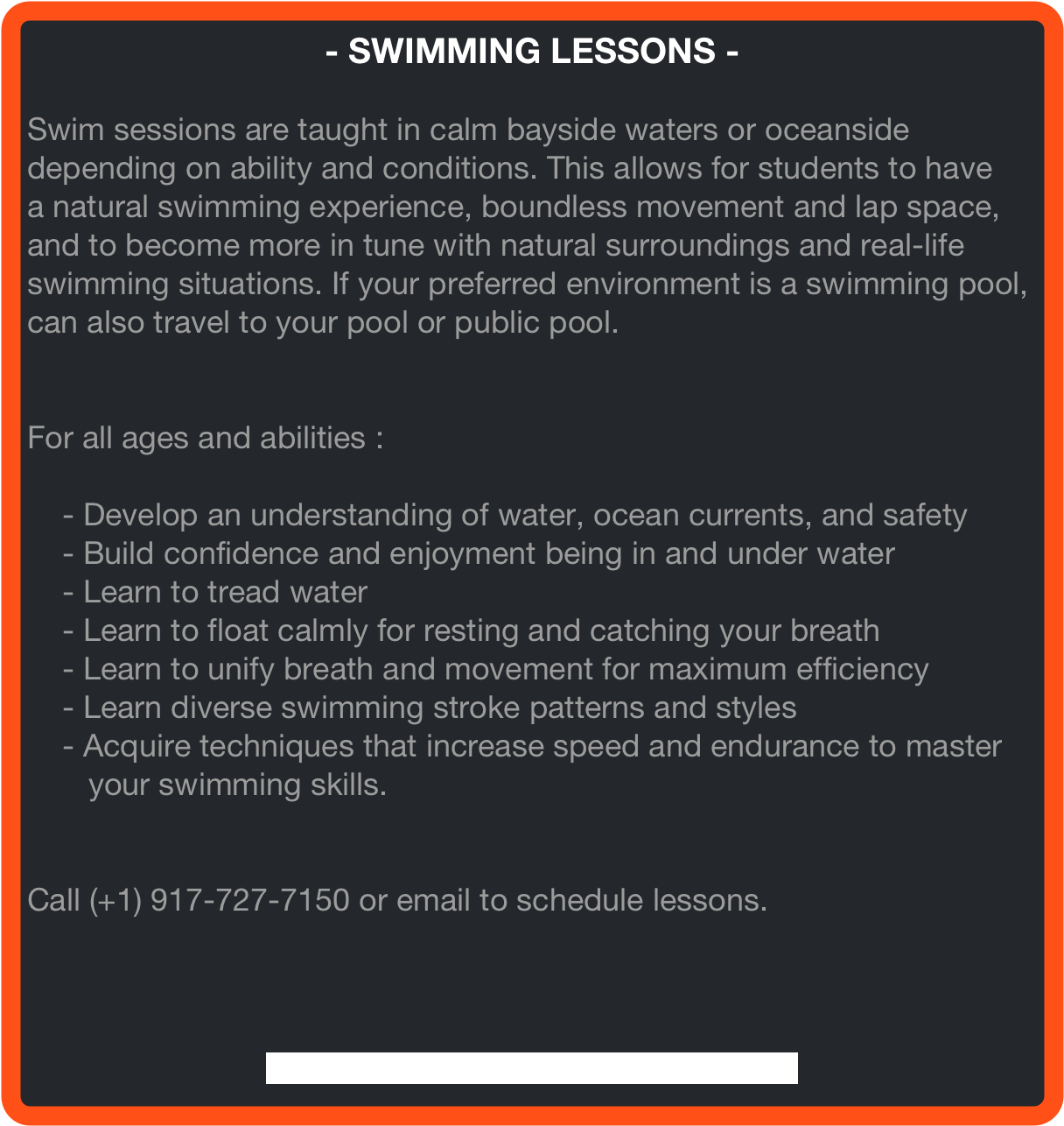 - SWIMMING LESSONS -